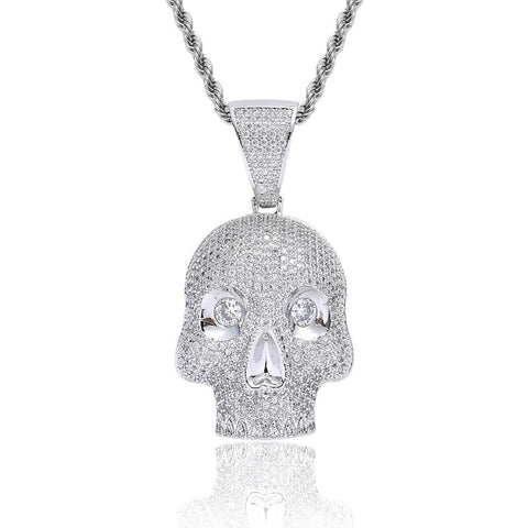 DIAMONDSHAPE 200000162 White Gold / 60cm Hip Hop Pendant <br> Iced Out CZ Skull Head Pendant Necklace