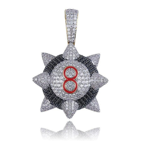 Hip Hop Pendant <br>  Iced out 8-ball Spike Pendant Necklace