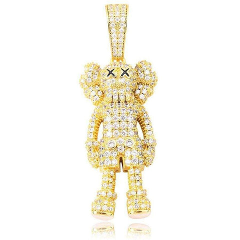 DIAMONDSHAPE 200000162 Gold / 18 inch Iced Out Bling-bling Puppet Pendant Necklace  | DiamondShape©
