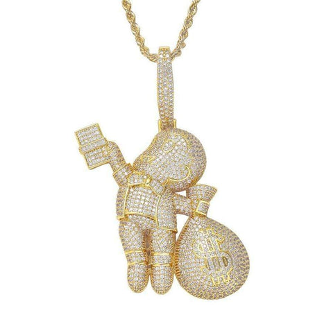 Hip Hop Pendant <br>   Iced Out Money Boy Pendant Necklace