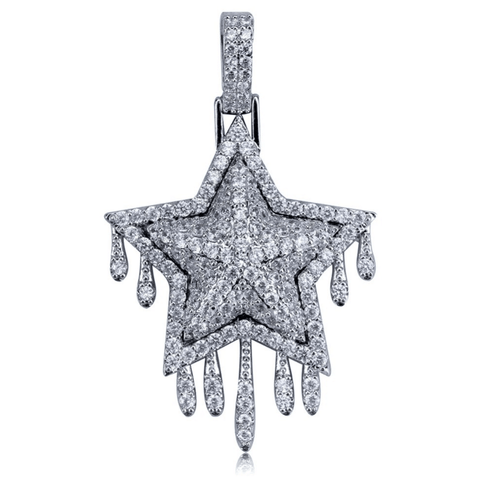 Hip Hop Ring <br> Iced Out CZ Bling Drip Star Pendant - DIAMONDSHAPE