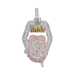 DIAMONDSHAPE 200000162 New High Quality Copper Iced Out Cubic Zirconia In My Bag Pendant Necklace Colors Stone With 4mm Tennis Chain
