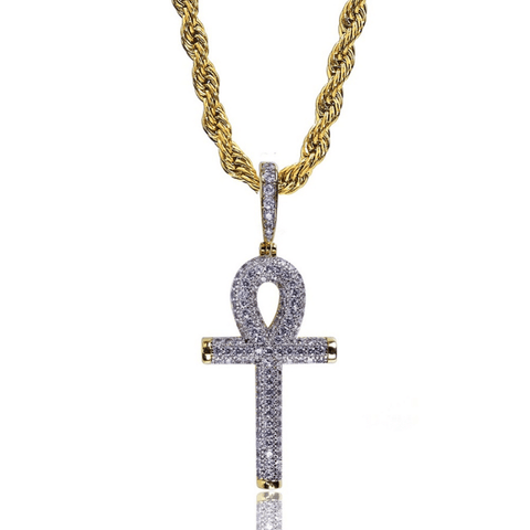 DIAMONDSHAPE 200000162 White Gold / Rope Chain / 18 inch Solid Back Ankh Cross Necklaces Mens Women Hip Hop Pendant Necklaces Iced Out AAA+ Bling CZ