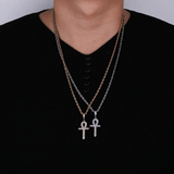 DIAMONDSHAPE 200000162 Solid Back Ankh Cross Necklaces Mens Women Hip Hop Pendant Necklaces Iced Out AAA+ Bling CZ