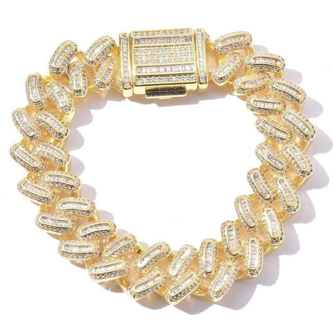 DIAMONDSHAPE© BRACELET Gold / 7 inch Hip hop bracelet <br>  Iced Out Cuban Zircon CZ Bracelet | DiamondShape©