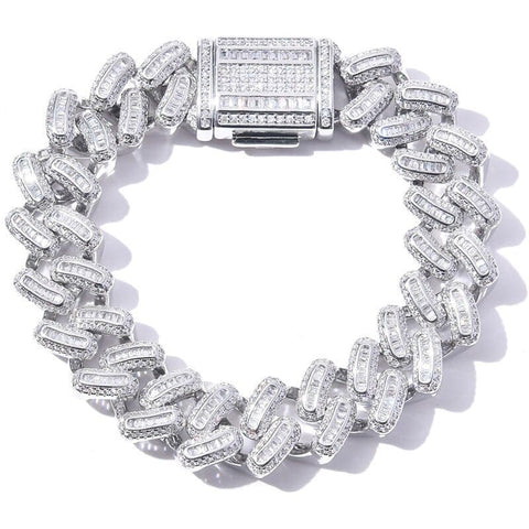 DIAMONDSHAPE© BRACELET White Gold / 7 inch Hip hop bracelet <br>  Iced Out Cuban Zircon CZ Bracelet | DiamondShape©