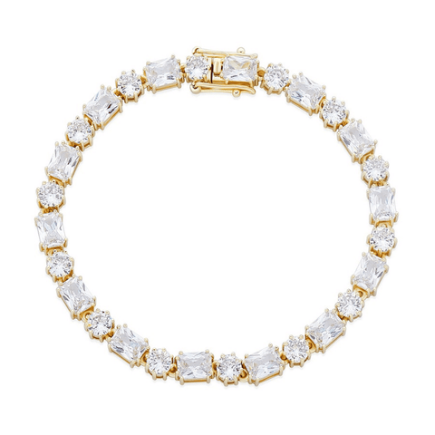 DIAMONDSHAPE BRACELTS Gold / 7inch 6mm Bracelet High Quality Round and Square Iced Out Cubic Zirconia Women's Bracelet Hip Hop Fashion Jewelry For Gift