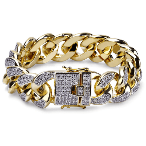 Hip Hop Bracelet <br> Iced Out CZ 3 Tones Cuban Link Bracelet - DIAMONDSHAPE