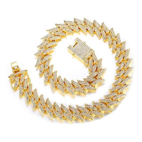 DIAMONDSHAPE chains Gold / 20inch Hip Hop Chain <br> Iced Out Thorns Cuban Link Chain Hip Hop Chain | Iced Out Thorns Cuban Link Chain | Best Quality | DIAMONDSHAPE