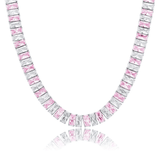 DIAMONDSHAPE chains White Gold and Pink / 16inch New 10mm Baguette Necklace Heavy Iced Out Cubic Zirconia Cuban Women's Necklace Hip Hop Fashion Jewelry For Gift