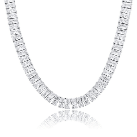DIAMONDSHAPE chains White Gold / 16inch New 10mm Baguette Necklace Heavy Iced Out Cubic Zirconia Cuban Women's Necklace Hip Hop Fashion Jewelry For Gift