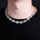 DIAMONDSHAPE chains New 12mm Baguette&Round Necklace High Quality Iced Out Cubic Zirconia Hip Hop Fashion Jewelry Gift For Men