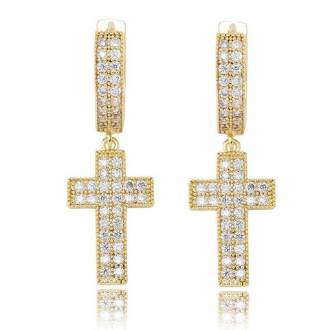 DIAMONDSHAPE errings Gold Cubic Zirconia Bling Iced Cross Earring Gold Silver Color Copper Material Earrings for Men Women Hip Hop Rock Jewelry