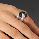 Hip Hop Ring <br> Black and Clear Austria Crystal Cross Ring - DIAMONDSHAPE