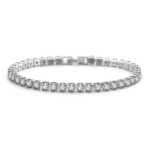 DIAMONDSHAPE White Gold / 17cm Hip hop bracelet <br> Round Cut Diamond Tennis Bracelet White Gold 925 Hip hop bracelet | Tennis Bracelet White Gold | 90-Day Guarantee