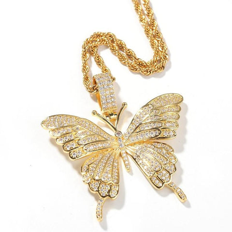 DIAMONDSHAPE PENDANTS Gold / Rope chain / 18inch Hip Hop Pendant <br> Iced Out Butterfly Pendant Necklace