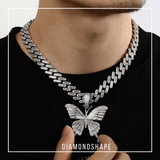 DIAMONDSHAPE PENDANTS Hip Hop Pendant <br> Iced Out Butterfly Pendant Necklace