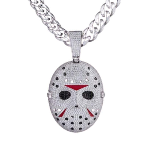 DIAMONDSHAPE© PENDANTS White Gold / Cuban Chain / 20 INCH Icy Friday the 13th Mask Pendant  | DiamondShape©