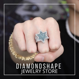 Iced Out Hexagon Star Ring