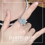 Hip Hop Ring <br> Iced Out Blue Diamond Star Ring