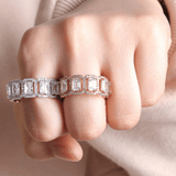 DIAMONDSHAPE rings Four claws Baguette Rings High Quality Copper Iced Out Micro Pave RINGS Hip Hop Fashion Jewelry Gift For Men Women