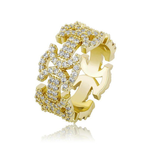 DIAMONDSHAPE rings 7 / Gold Hip Hop Ring <br> Iced Out Litlife Ring Women Diamond Ring | Women | DIAMONDSHAPE