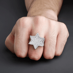 DIAMONDSHAPE rings New Iced Out Hexagon Star Rings For Men/Women Micro Paved Gold Silver Color Finish Cubic Zircon Charm Hip Hop Jewelry Ring Gift