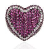 DIAMONDSHAPE© rings New Red Bule Color Heart Ring Micro Pave Cubic Zircon Round Ring Full Iced Out Bling Hip Hop/Punk Men Women Jewelry For Gifts
