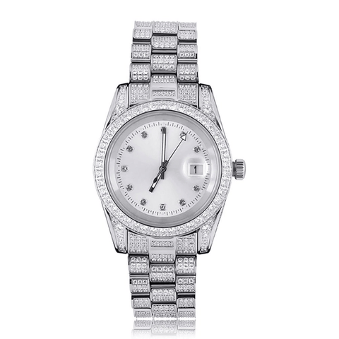 DIAMONDSHAPE watch White Gold Iced Presidential Mens Watch Luxury 18K White Gold Watch Hip Hop Charm Jewelry For Gift