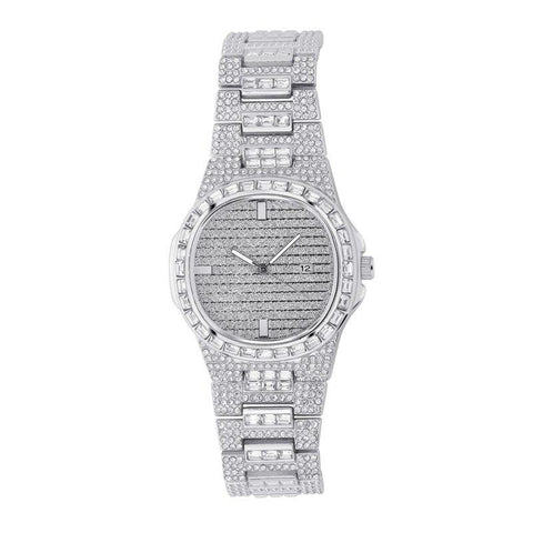 DIAMONDSHAPE Watches White Gold Hip Hop Watch <br> Iced Out Diamond Watch Quartz Gold Silver Color Micro paved Hip Hop Personality Stainless Steel Watch
