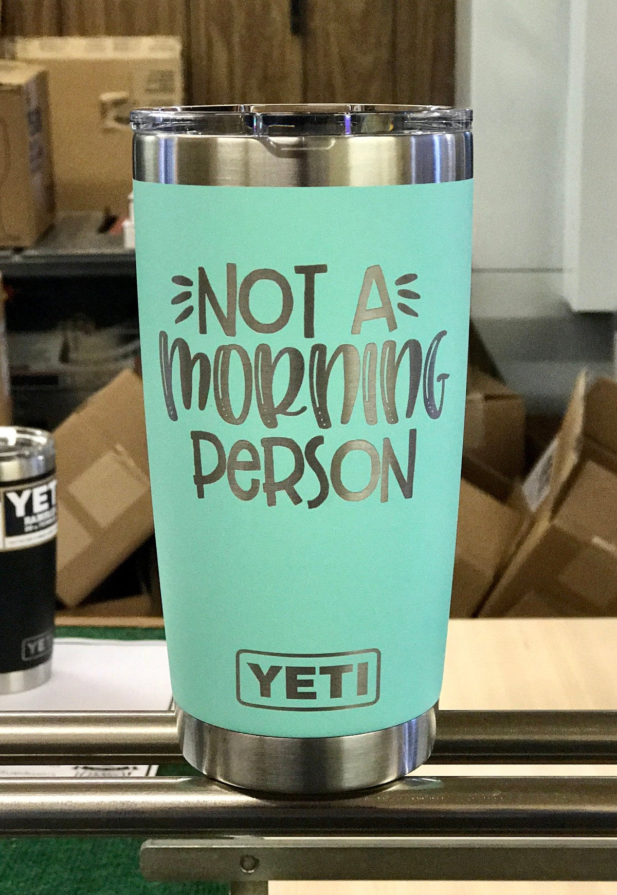 Laser Engraved Authentic Yeti Rambler - NOT a MORNING PERSON