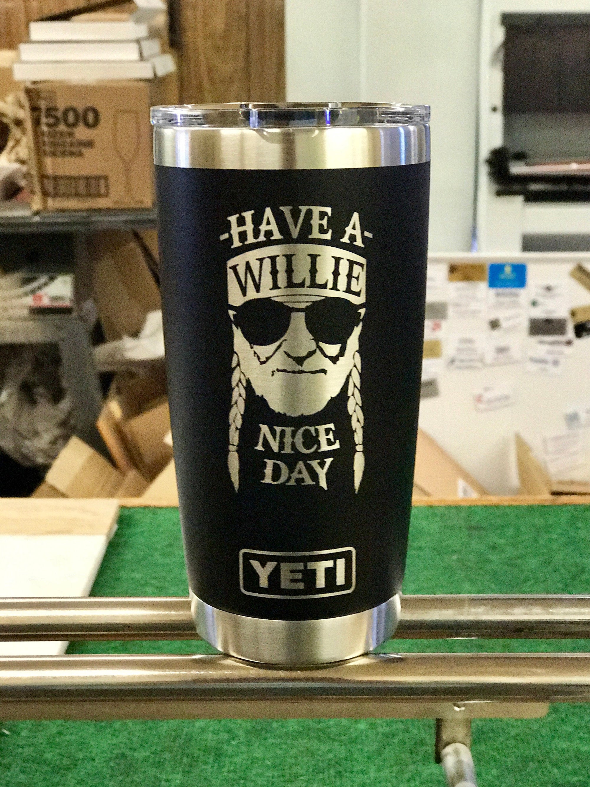 Laser Engraved Authentic yeti Rambler - WILLIE NICE DAY