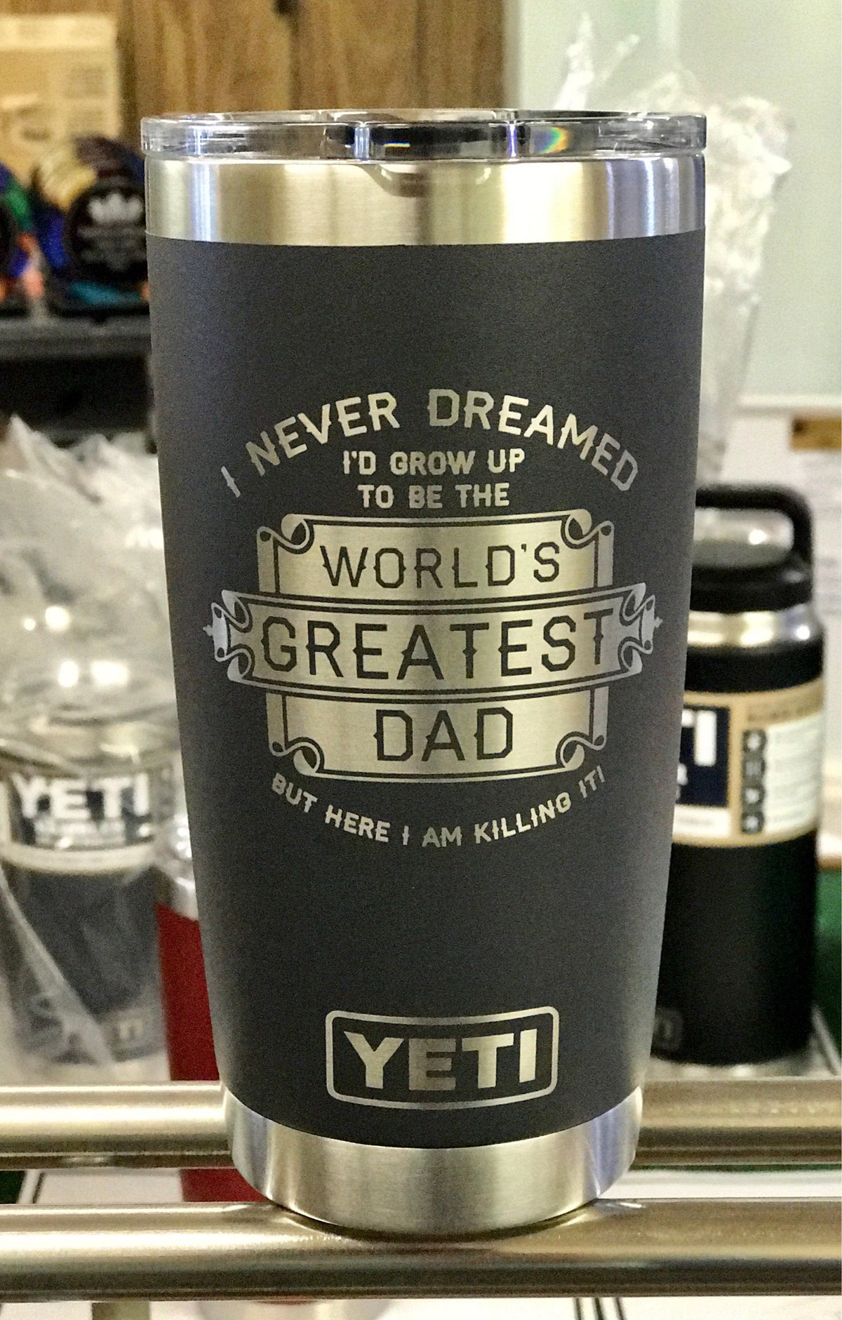 Laser Engraved Authentic Yeti Rambler - WORLD'S GREATEST DAD
