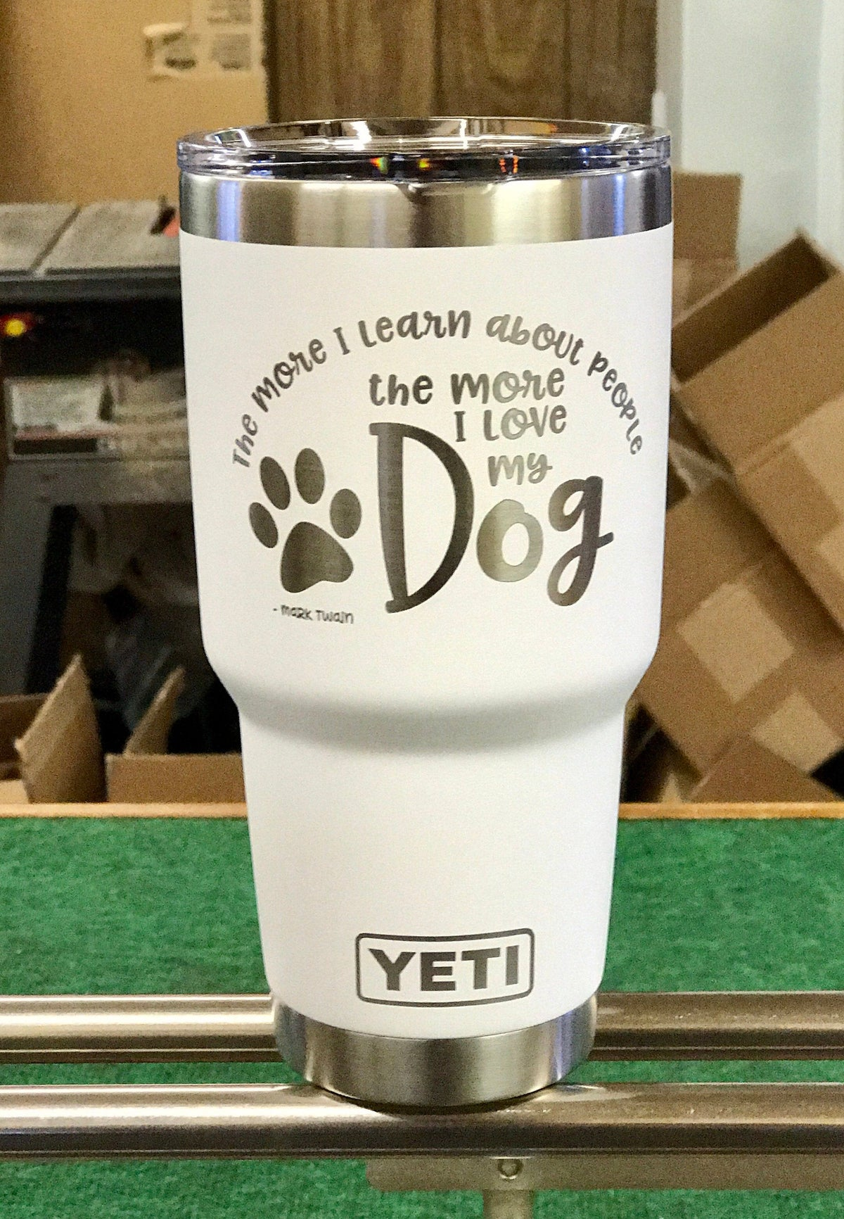 Laser Engraved Authentic Yeti Rambler - LOVE MY DOG