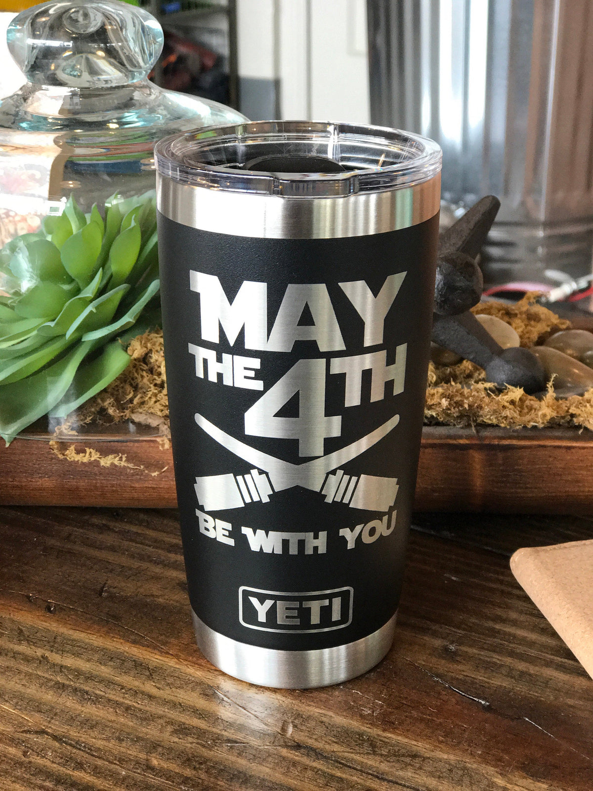 Laser Engraved Authentic Black 20 oz Yeti Rambler - MAY THE 4TH