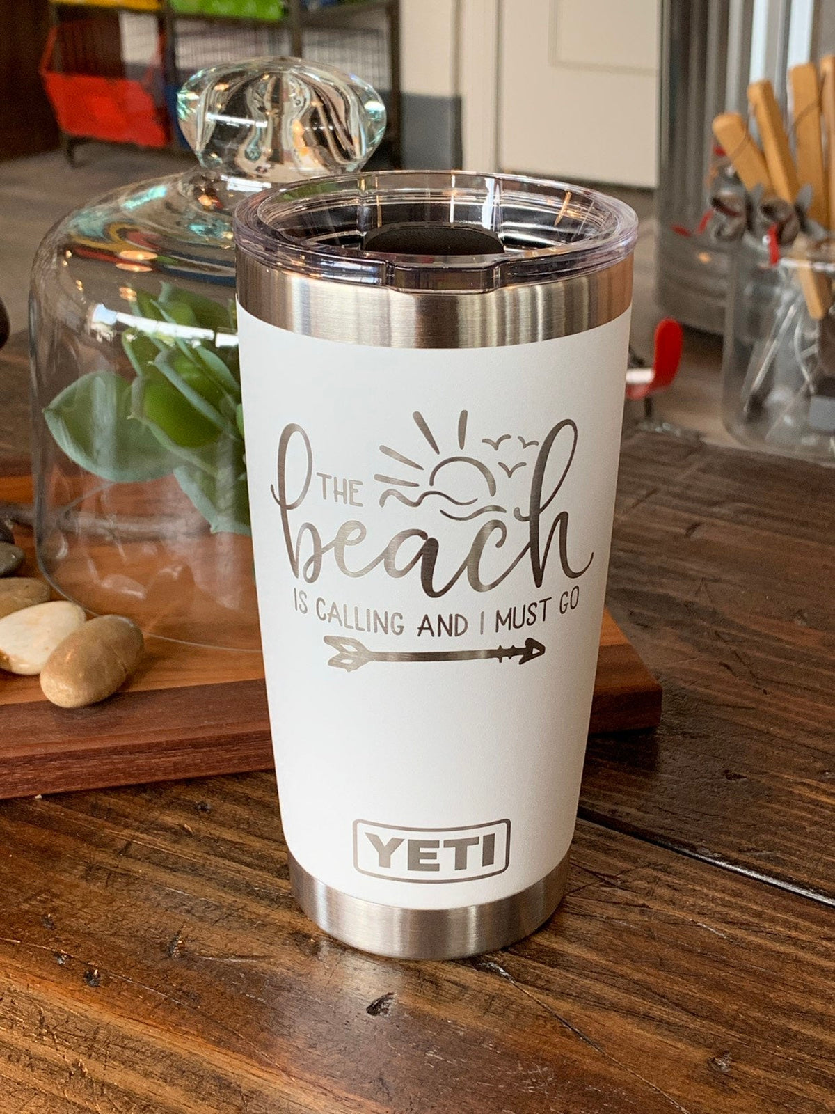 Laser Engraved Authentic YETI Rambler - BEACH IS CALLING