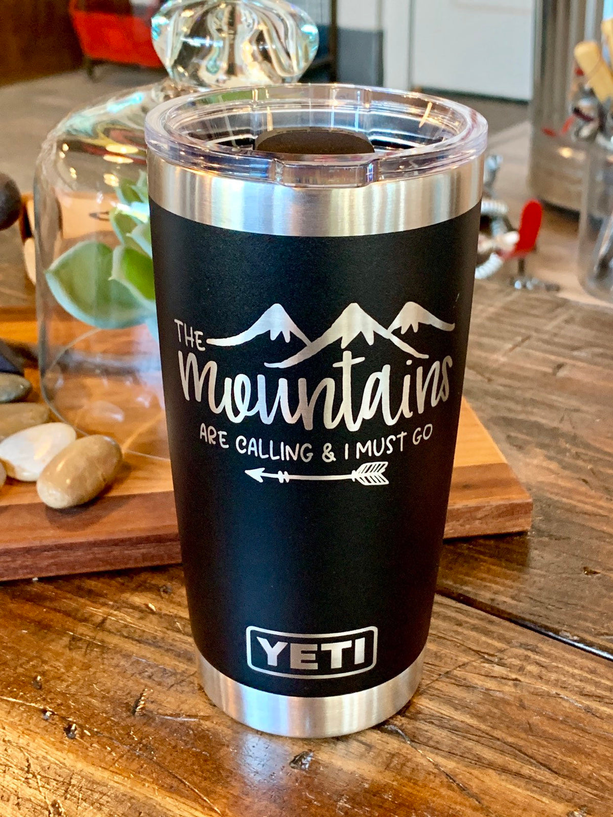 Laser Engraved Authentic Yeti Rambler - MOUNTAINS ARE CALLING