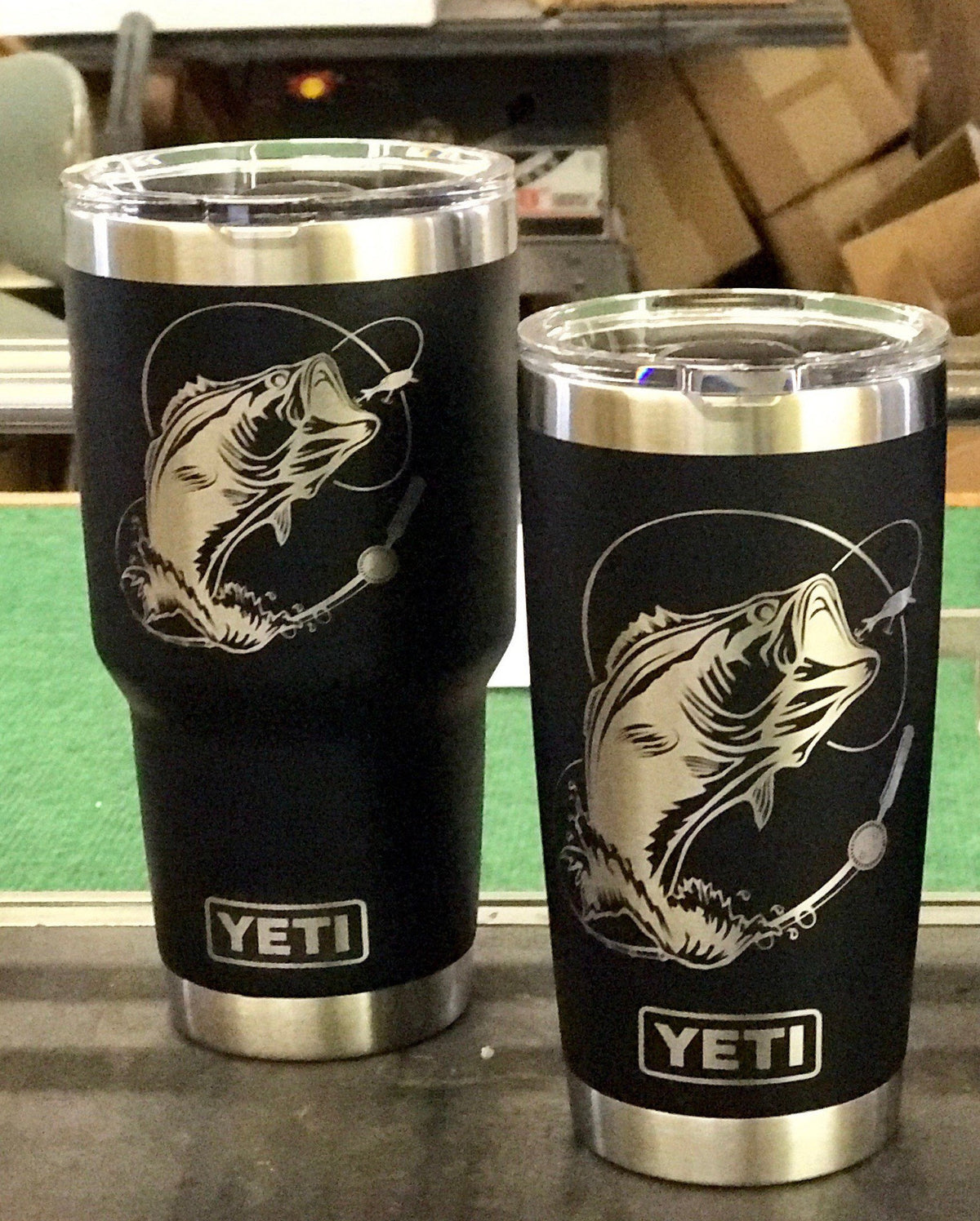 Laser Engraved Authentic Yeti Rambler - BASS FISHING
