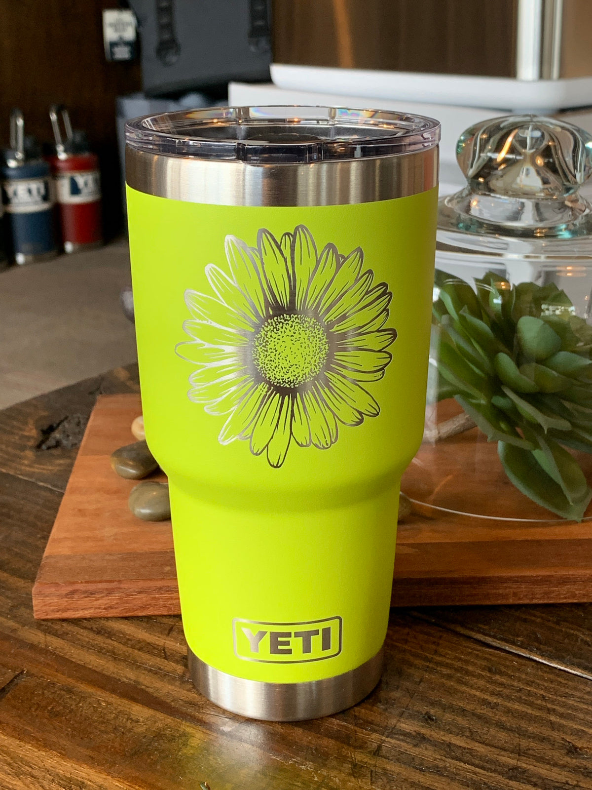 Laser Engraved Authentic YETI Rambler - SUNFLOWER