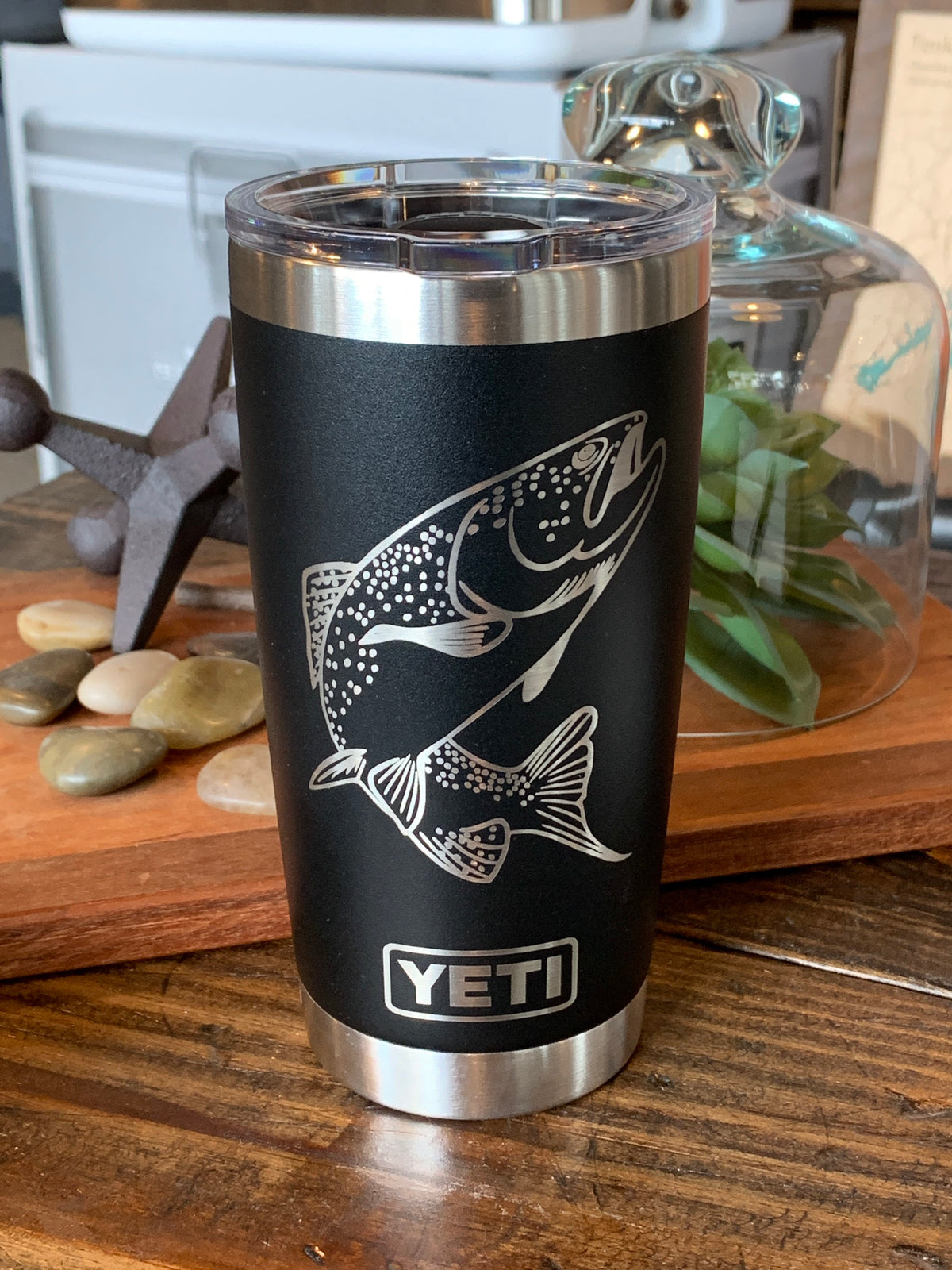 Laser Engraved Authentic Black Yeti Rambler - TROUT FISHING