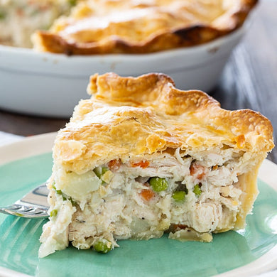 CHICKEN POT PIE. Fresh Meal. Ready to Heat and Eat.  2 Portions. Frozen Meal available by Pre-Order on any day, except Sunday.