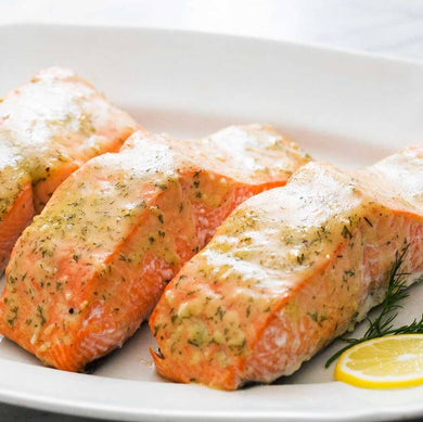 SALMON FILET. Frozen Meal. SINGLE PORTION. GLUTEN FREE.