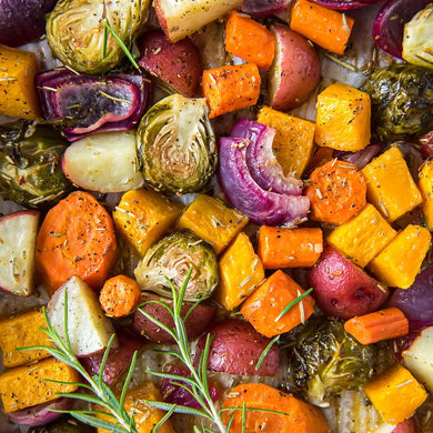 Roasted Medley of Seasonal Vegetables. Single Portion. 150 grams.