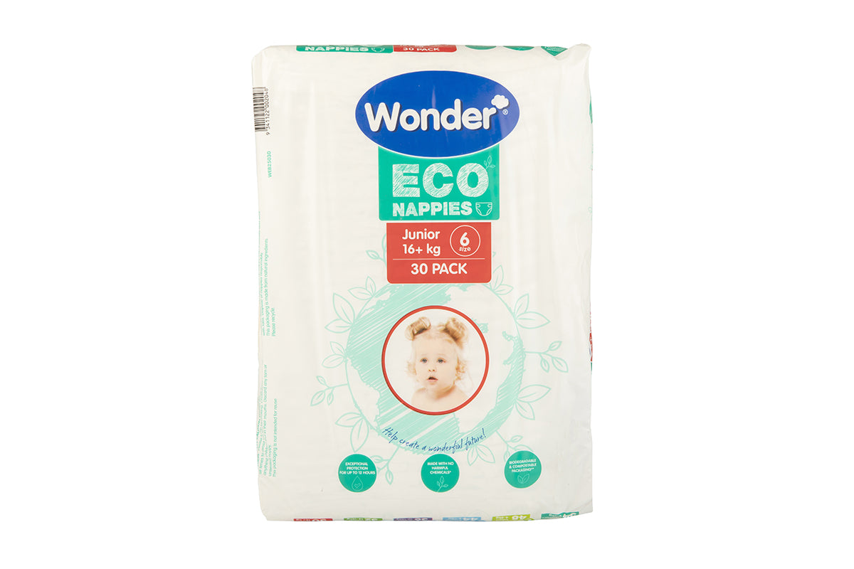 wonder eco nappy junior size 6 bulk pack horizontal