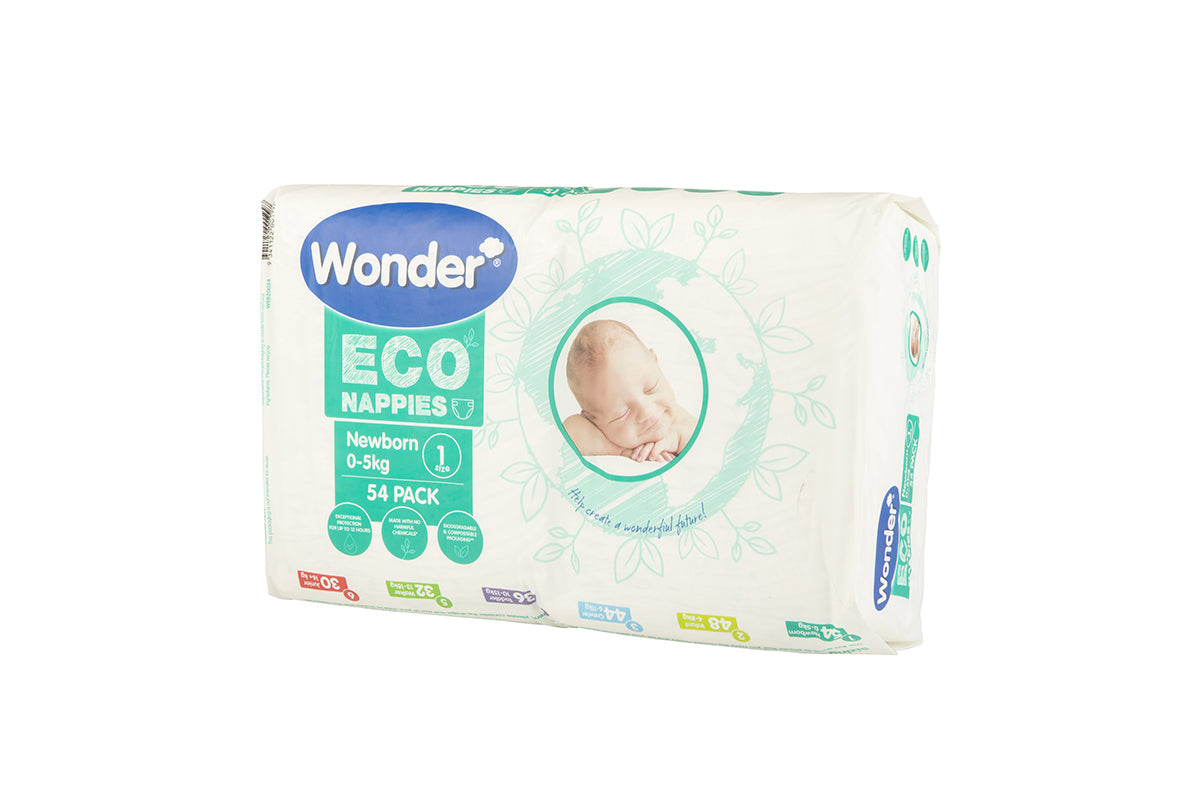 wonder eco bulk pack newborn size 1 side angle