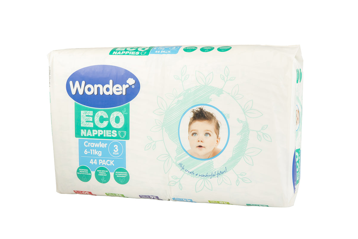 wonder eco nappy bulk pack size 3 crawler side angle