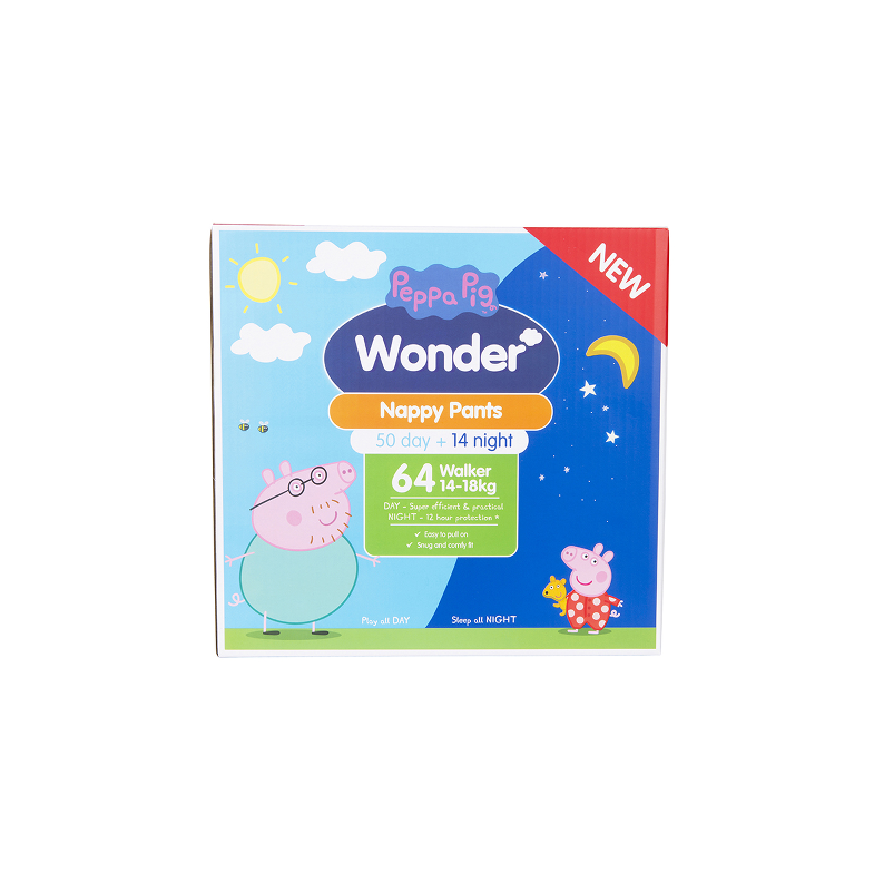 Peppa Pig Wonder Day & Night Nappy Pants Jumbo Carton - Walker