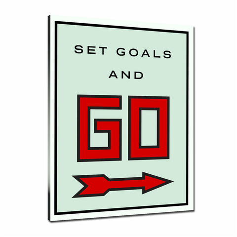Set Goals And Go Tableau en toile 40 x 60 cm / Chassis