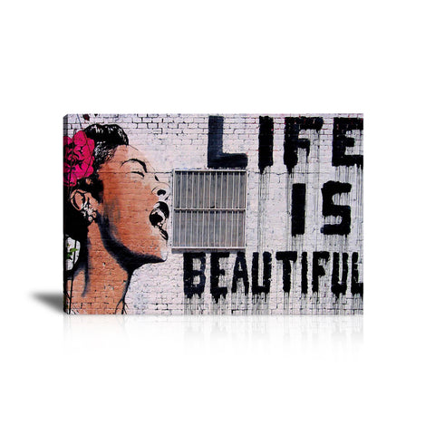 Billie Holiday Life Is Beautiful Tableau en toile 40 x 60 cm / Chassis