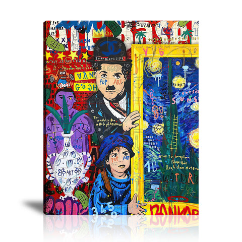 Chaplin At The Movie Theater Tableau en toile 40 x 60 cm / Chassis